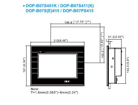 ابعاد HMI دلتا DOP-B07S411